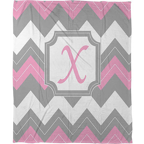 """Thumbprintz Chevron Monogram Pink X Coral Fleece Throw, 30"""" x 40"""""""