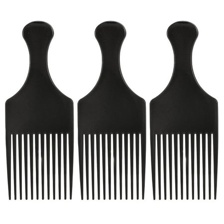 Anself 3Pcs Afro Comb Curly Hair Brush Comb Hairdressing Styling Tool Black for Man &