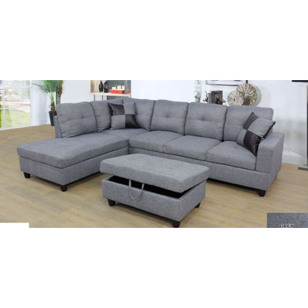 ULT Gray MicroFiber Sectional Sofa, Left Facing Chaise, 74.5\
