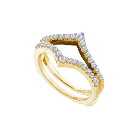 14kt Yellow Gold Womens Round Diamond Ring Guard Wrap Enhancer Wedding Band 1/2 Cttw (Yellow Gold Ring Wrap)
