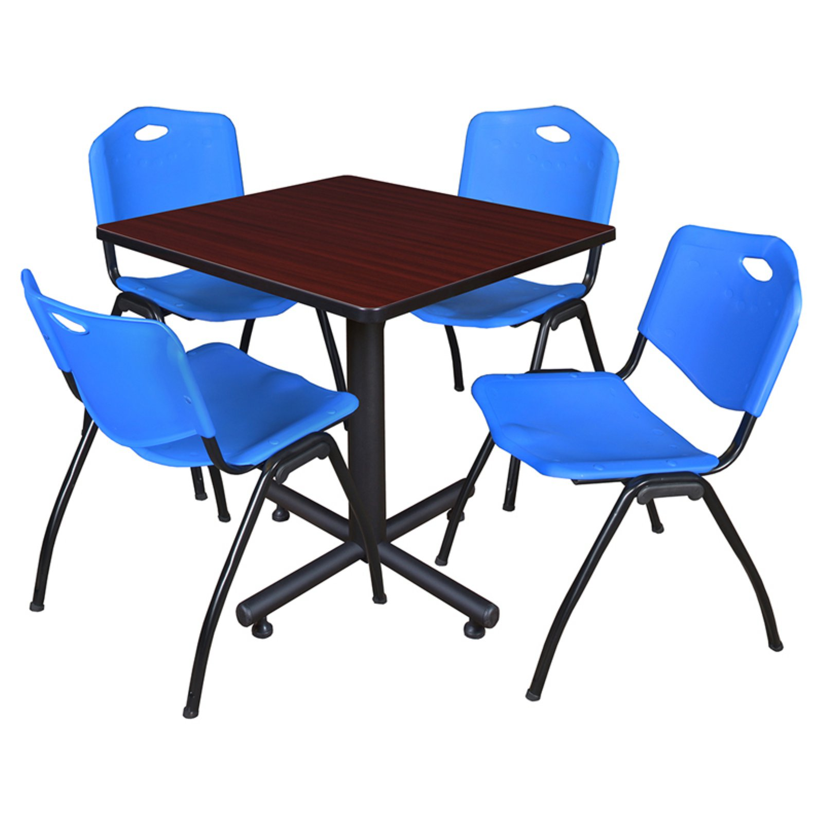 "Kobe 30"" Mahogany Square Breakroom Table and 4 'M' Stack Chairs, Multiple Colors"
