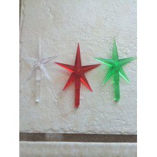 Ceramic Christmas tree plastic light up large stars 3 pack, clear, red and green 2-1/2