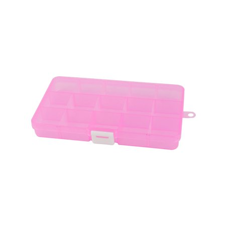 Pink Plastic Adjustable 15 Slots Storage Tool Box Jewelry Case Craft Organizer - image 1 of 2