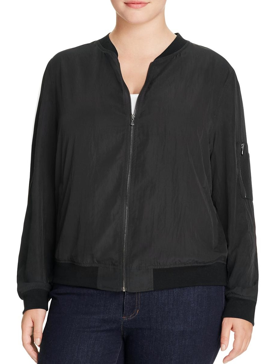 Bagatelle Womens Plus Lightweight Zip Front Bomber Jacket