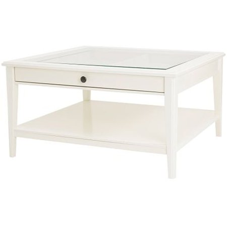 Ikea White Coffee Table with Glass Top 1222.26232.3010 ()