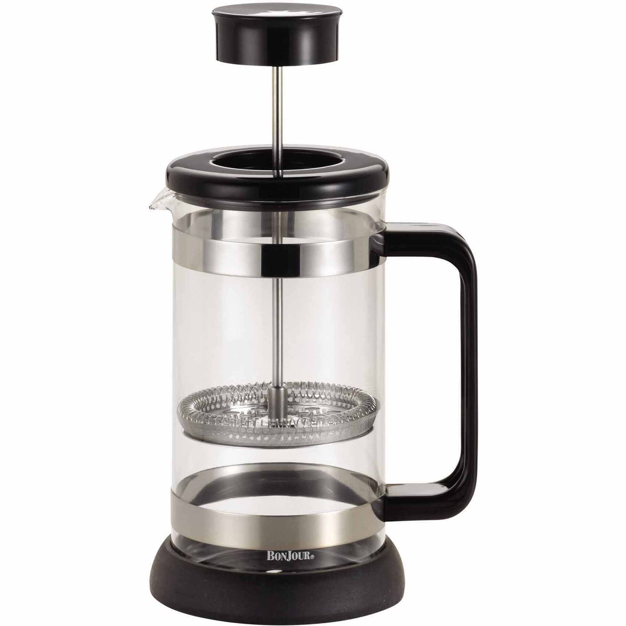 BonJour Coffee Borosilicate Glass French Press with Coaster & Scoop, 33.8-Ounce, Riviera, Black