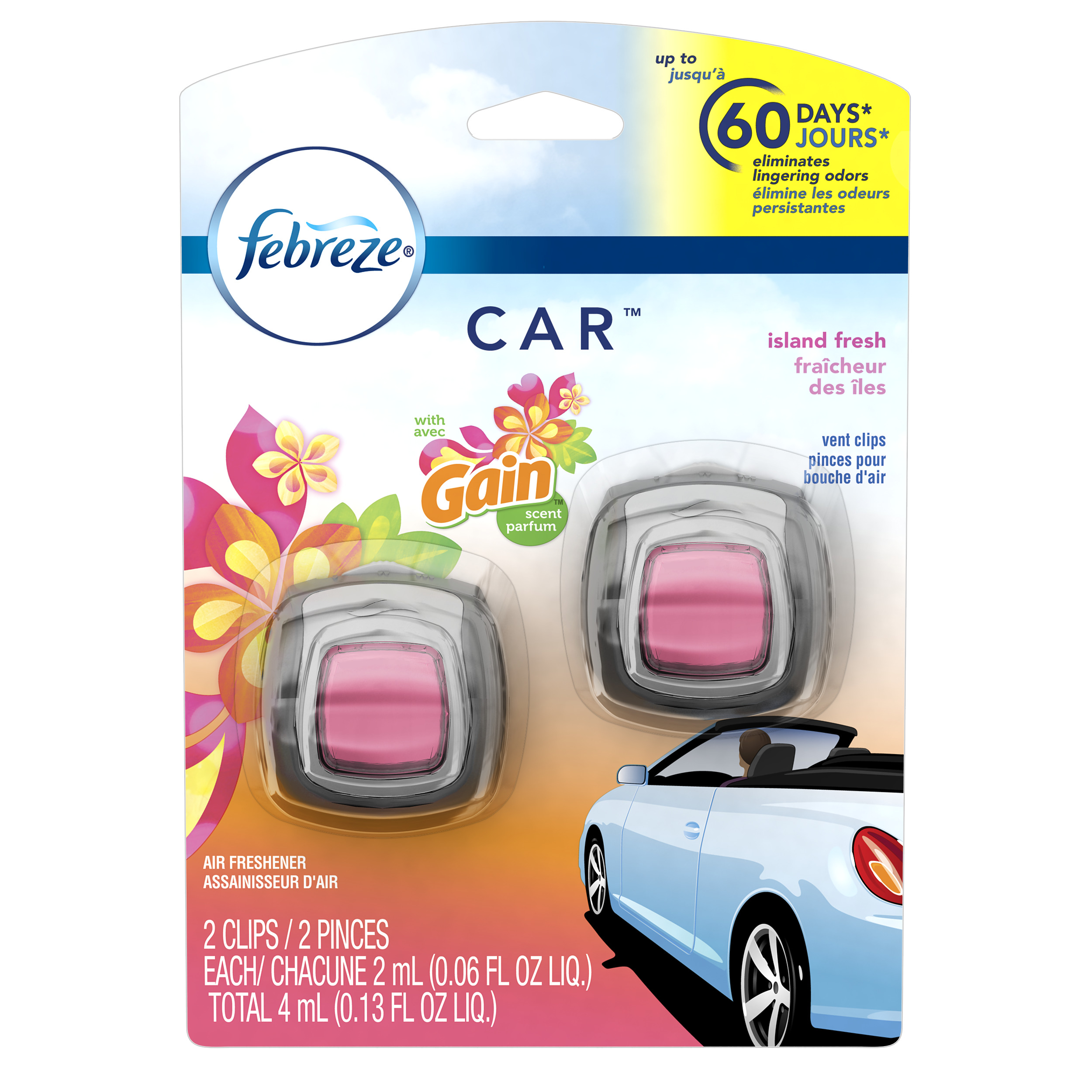 Febreze Car Air Freshener, Gain Island Fresh Scent, 2 Clips