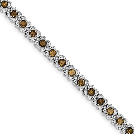- 925 Sterling Silver Smoky Quartz Tennis Bracelet with Secure Lobster Clasp, 7inch
