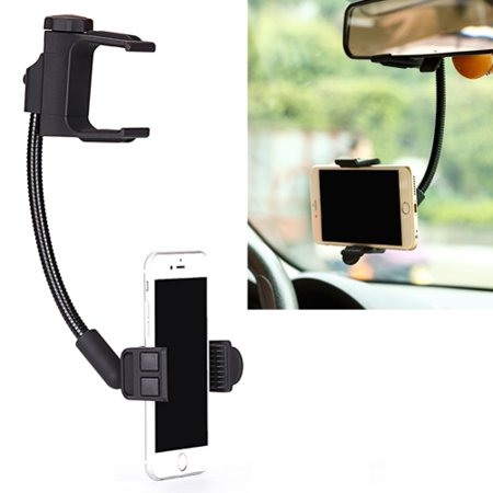Premium Car Mount Rear View Mirror Holder Dock Cradle Adjustable Gooseneck Swivel Black V5J Compatible With ASUS Zenfone 3 Max - Blackberry Key2 LE - Blackview BV9000 Pro, BV8000 Pro - BLU S1 - Asu Decorations