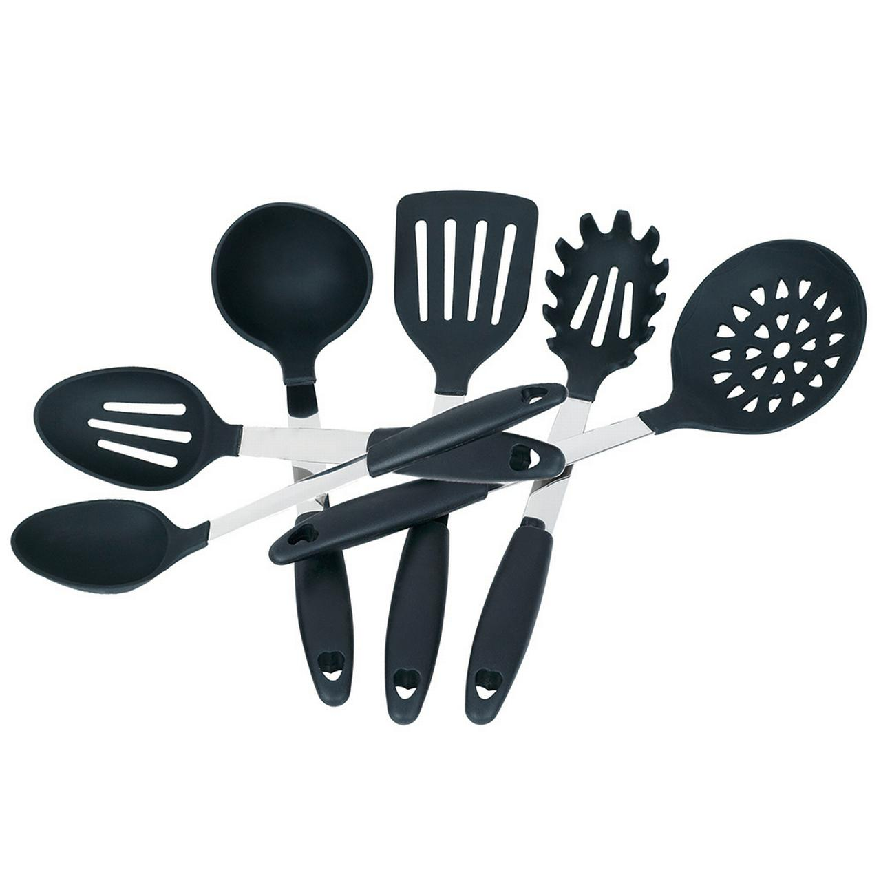 JYPC Set of 6 Silicone Cooking Utensil Set Tools Cookware Set Kitchen Gadgets (Black)