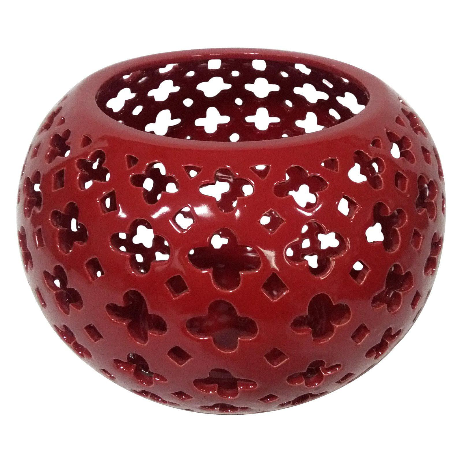 Three Hands Pierced Silver Ceramic Globe Bowl