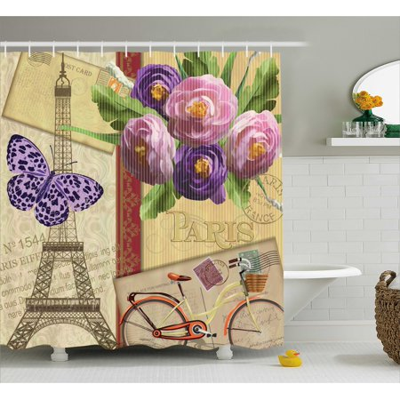 Paris France Tower - Paris Shower Curtain, French Decor Landmark Eiffel Tower Postcards with Abstract Striped Backdrop Art Print, Fabric Bathroom Set with Hooks, 69W X 70L Inches, Multicolor, by Ambesonne