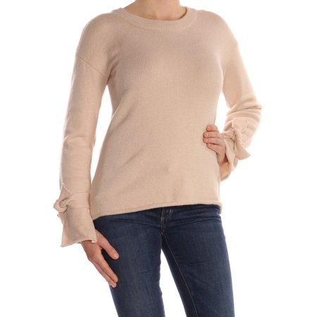 BAR III Womens Beige Tie Long Sleeve Crew Neck Tunic Wear To Work Sweater  Size: M