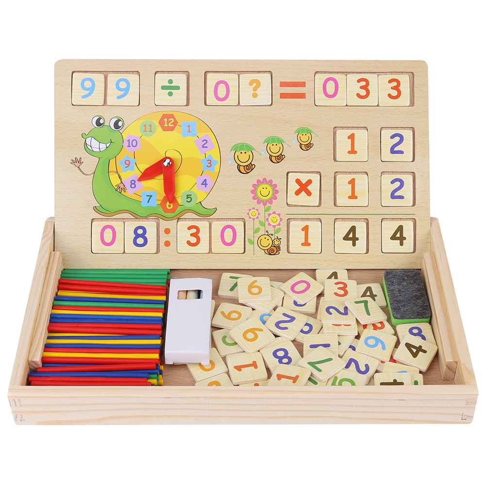 Kids Children Wooden Educational Toy Baby Multi-functional Numbers Learning Box Puzzle Toys