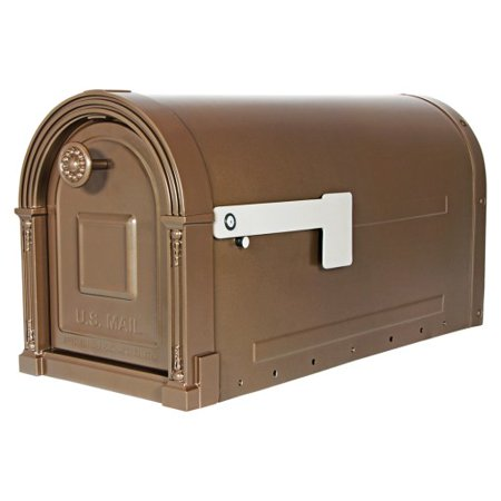 Gibraltar Mailboxes Garrison Large Capacity Galvanized Steel Venetian Bronze Post Mount Mailbox, (Bronze Large Outdoor Post Mount)