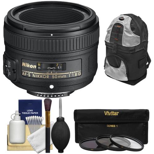 Nikon 50mm f/1.8 G AF-S Nikkor Lens with Backpack + 3 Filters + Kit for D3200, D3300, D5300, D5500, D7100, D7200, D750, D810 Cameras