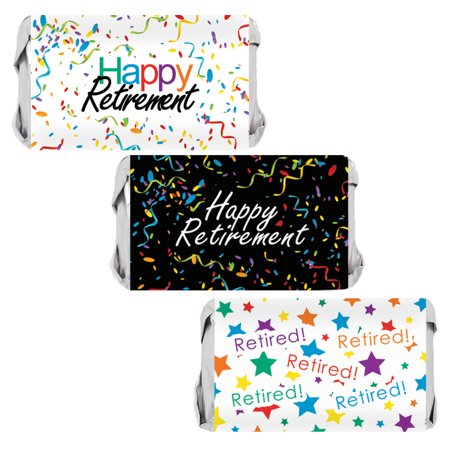 Retirement Party Favor Candy Wrappers 54ct   Sticker Decorations (Retirement Decorations Themes)