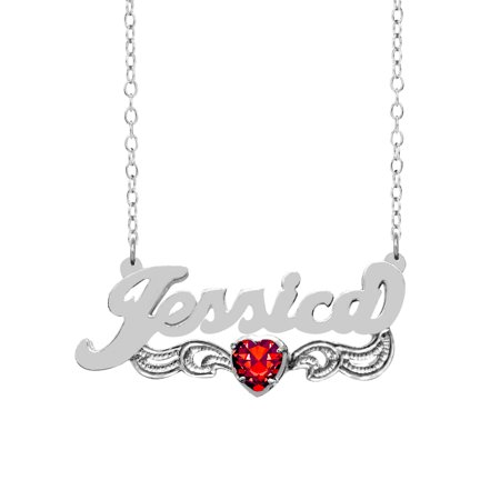 Personalized Sterling Silver or 14K Gold Over Sterling Silver Heart-Shaped Birthstone Nameplate Necklace with Beading and Rhodium on Tail with an 18 inch Link Chain