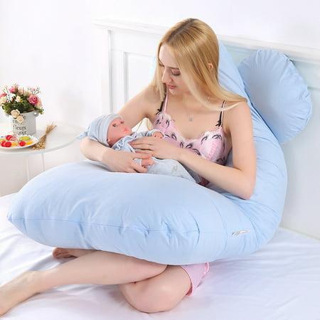 Large U Shape Total Body Pillow Pregnancy Maternity Comfort Support Cushion Sleep Nursing Maternity Sleep bed Pillow Baby Care Blue - image 1 de 9