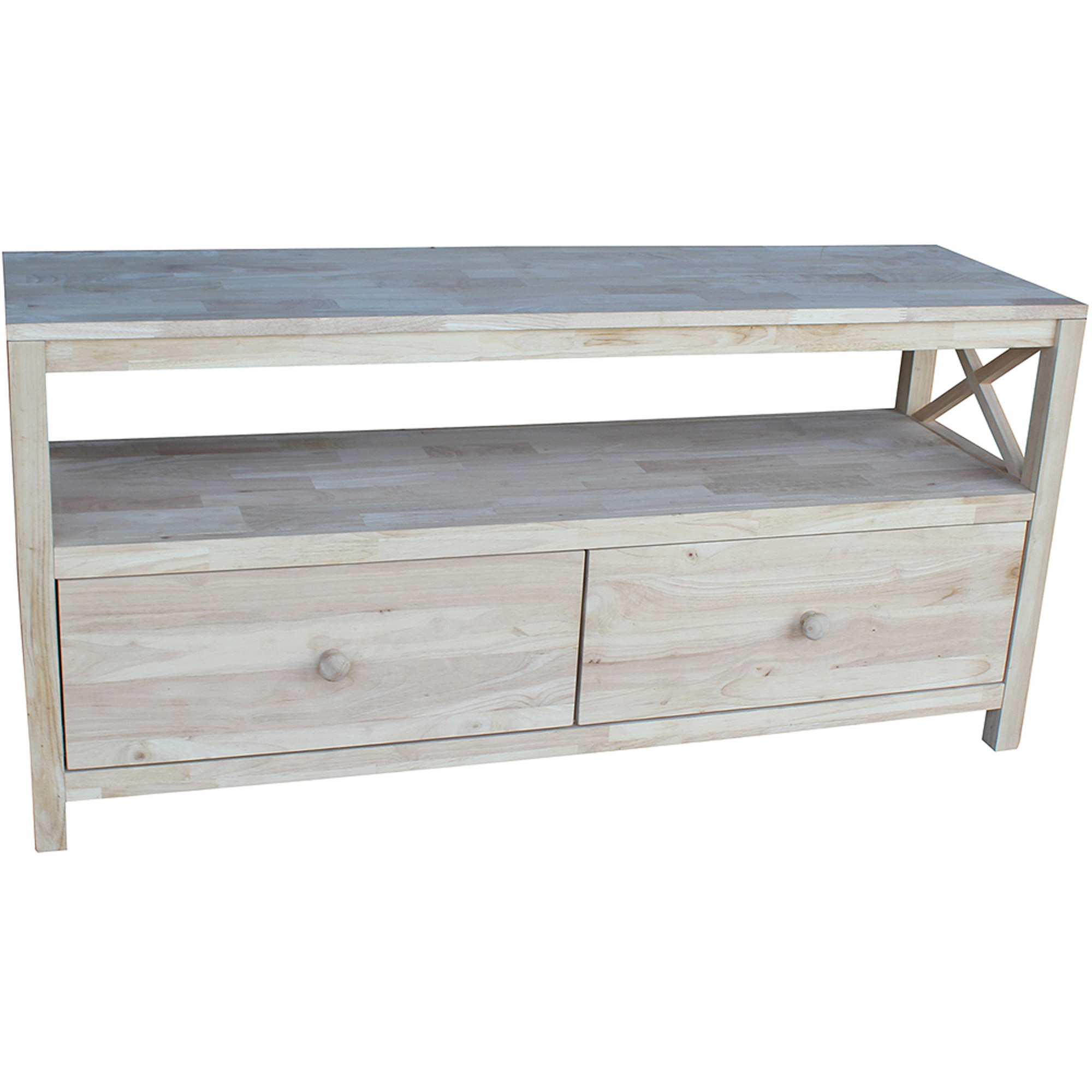 """International Concepts Hampton Unfinished Entertainment/TV Stand with X Sides for TVs up to 60"""""""