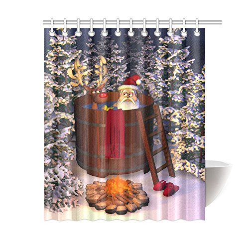 GCKG Santa Claus With Deer Have A Shower Curtain Funny Christmas White Trees Polyester Fabric Bathroom Sets Hooks 60x72 Inches