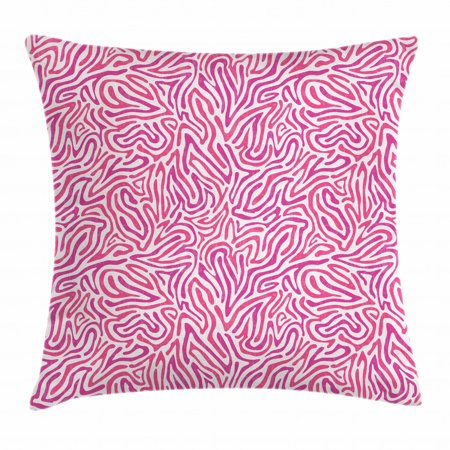Pink Zebra Throw Pillow Cushion Cover, Curved Wild Wavy Line Stripe Formless Funky Groovy Boho Tribal Culture, Decorative Square Accent Pillow Case, 18 X 18 Inches, Fuchsia Pink White, by Ambesonne Groovy Pink Pillow