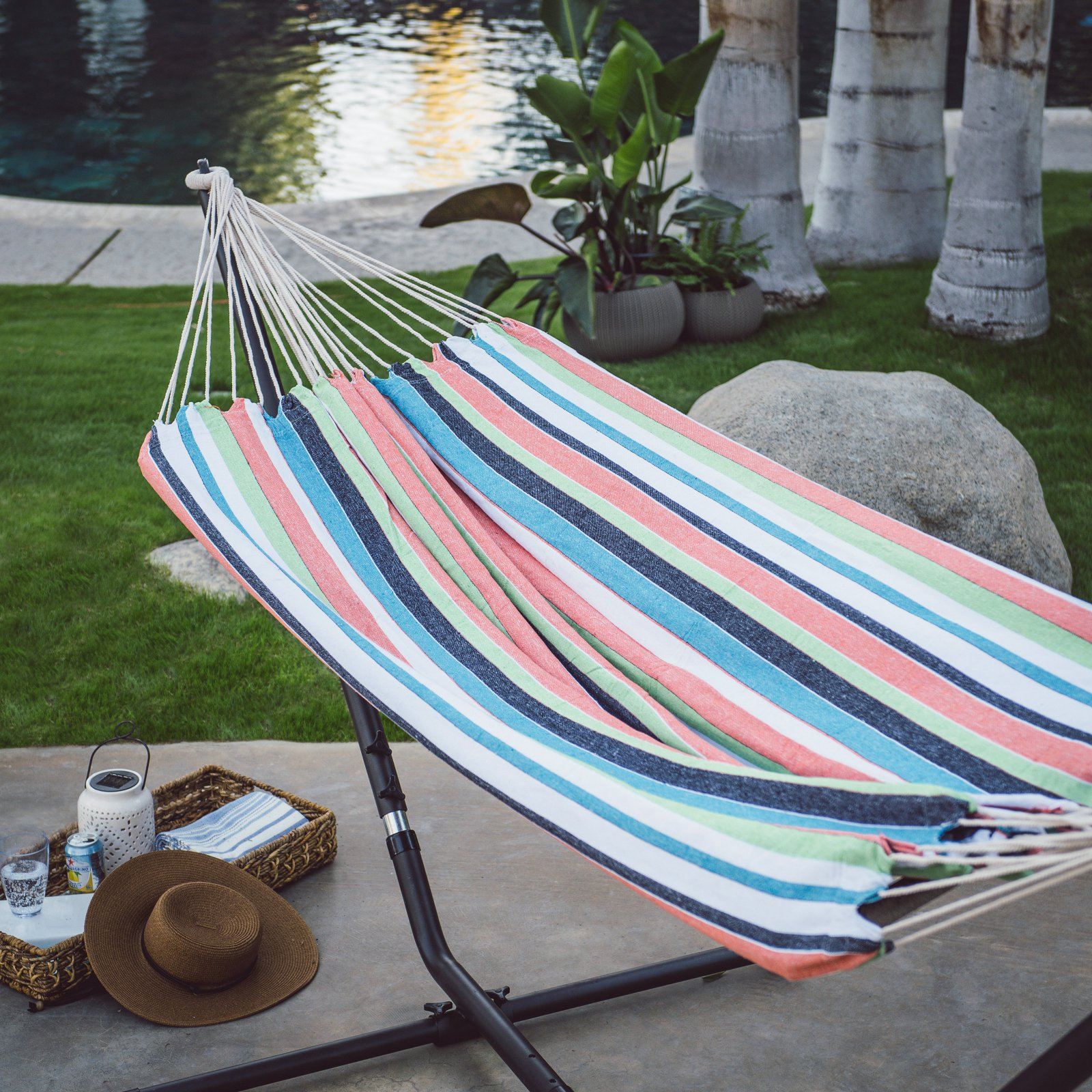 Island Bay Blue Green Stripe 9 ft. Single Hammock with Metal Stand by