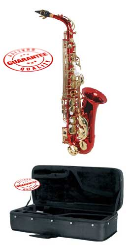 Hawk Colored Student Red Alto Saxophone with Case, Mouthpiece and Reed by Hawk