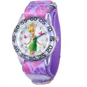 Disney Tinker Bell Girls' Plastic Case Watch, Printed Stretch Nylon Strap