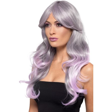 Fashion Ombre Long Wavy Grey And Pink Model Wig Women's Costume - Grey Costume Wig