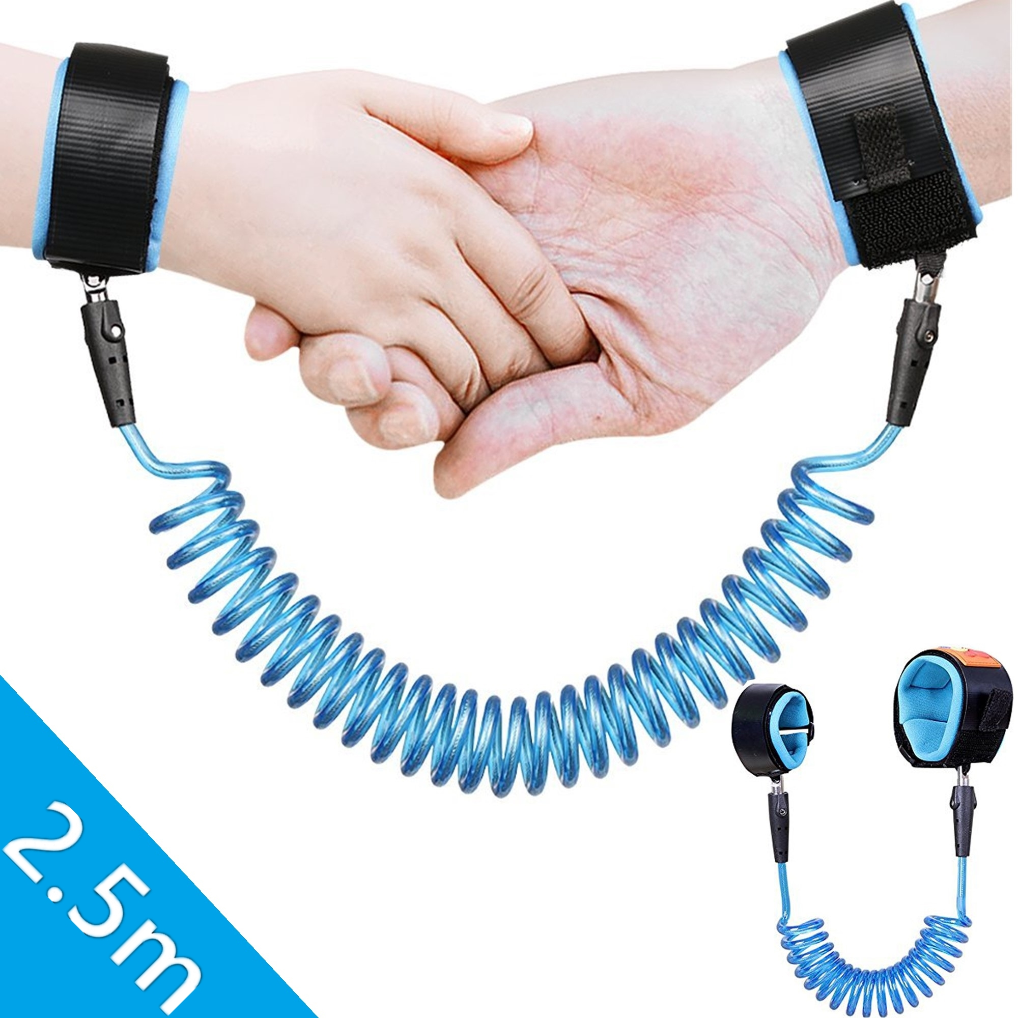 Anti Lost Wrist Link Belt, Child Traction Rope Belt, Toddlers Safety Harness Leash Kids Velcro Wrist Link, Walking Hand Belt ,Adjustable Skin Friendly Safety Wrist Belt(2.5M,Blue)