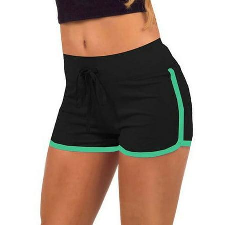 Drawstring Print Boardshorts - Women Yoga Workout Loose Drawstring Waist Elastic Sports Cotton Beach Shorts