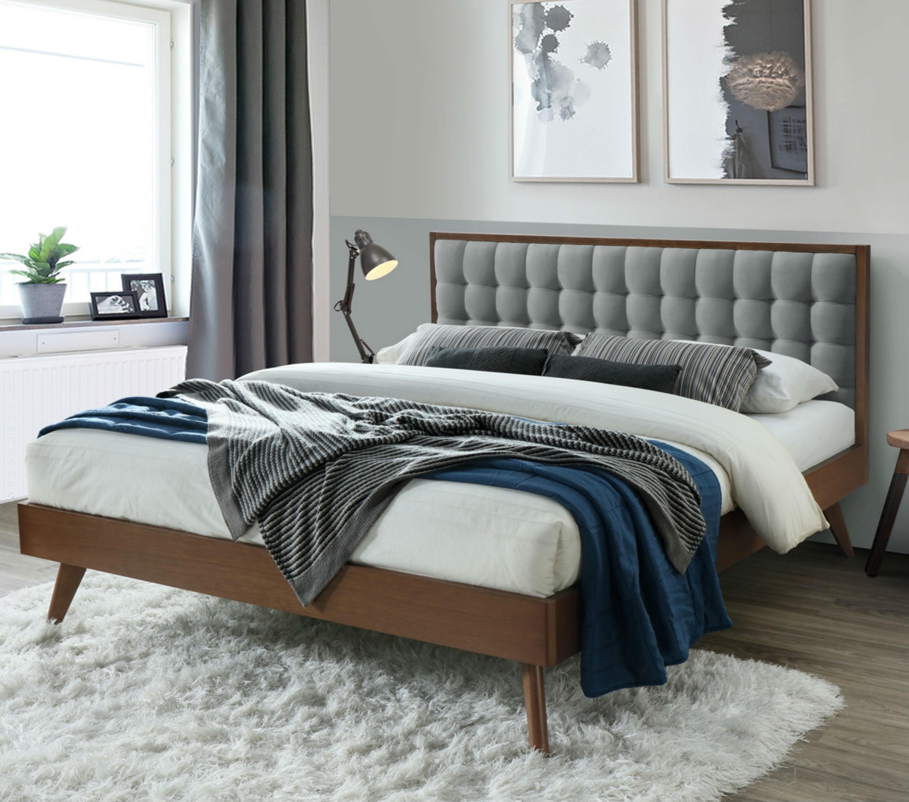 Dg Casa Soloman Mid Century Modern Tufted Upholstered Platform Bed Frame King Size In Grey Fabric Walmart Com Walmart Com