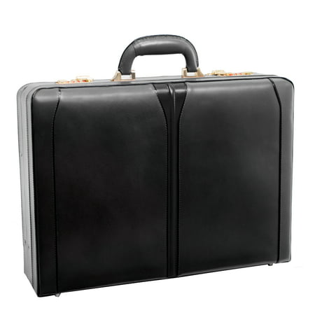 McKlein TURNER, Expandable Attaché Briefcase, Top Grain Cowhide Leather, Black (80485)