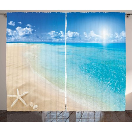 Beach Curtains 2 Panels Set, Sunny Summer Seashore with Clear Sky Seashells Starfish Clouds Aquatic Picture, Window Drapes for Living Room Bedroom, 108W X 84L Inches, Aqua Cream Blue, by Ambesonne