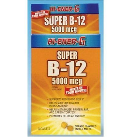 Hi-Ener-G Super B-12 Orange Melts 5000 mcg 30 Tablets Each