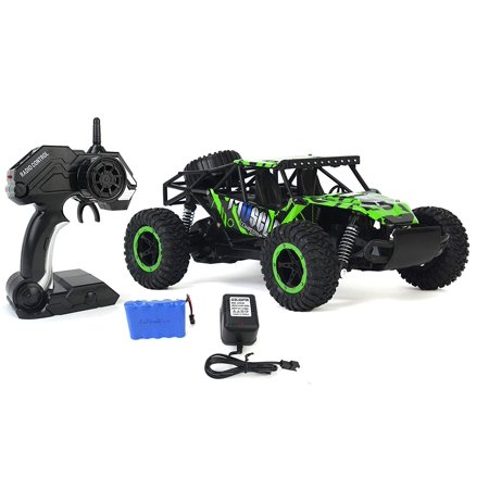 Cross Country Speed Racing Slayer Remote Control Toy Green Rally Buggy RC Car 2.4 GHz 1:16 Scale Size w/ Working Suspension, Spring Shock Absorbers( Color May Varry )