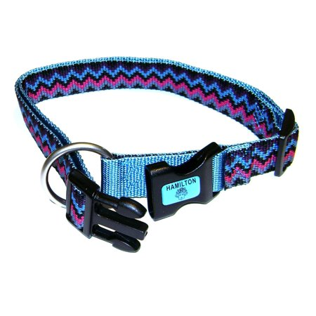 - Hamilton Adjustable Dog Nylon Collar Durable Small Ocean Blue Weave 5/8 inch 12-18