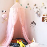 Faayfian Girls Princess Bed Canopy Round Dome Children Mesh Gauze Mosquito Net Hanging Curtain for Kids Bedroom - Pink