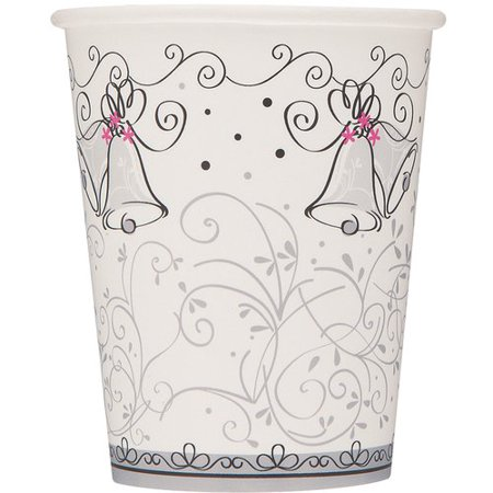 9oz Wedding Bells Paper Cups, 8ct Make every toast ring out with elegant simplicity with these festive Wedding Style Paper Cups. Featuring decorative swirls and little pink flowers on classic wedding bells, these paper cups add panache to the beverage station at an engagement party, bridal shower, or wedding. These charming Wedding Style Beverage Cups are great for serving warm and cold drinks, and free up the time you would otherwise spend washing glasses. Coordinate these party cups with other Wedding Style tableware and party supplies for an atmosphere of effortless sophistication.