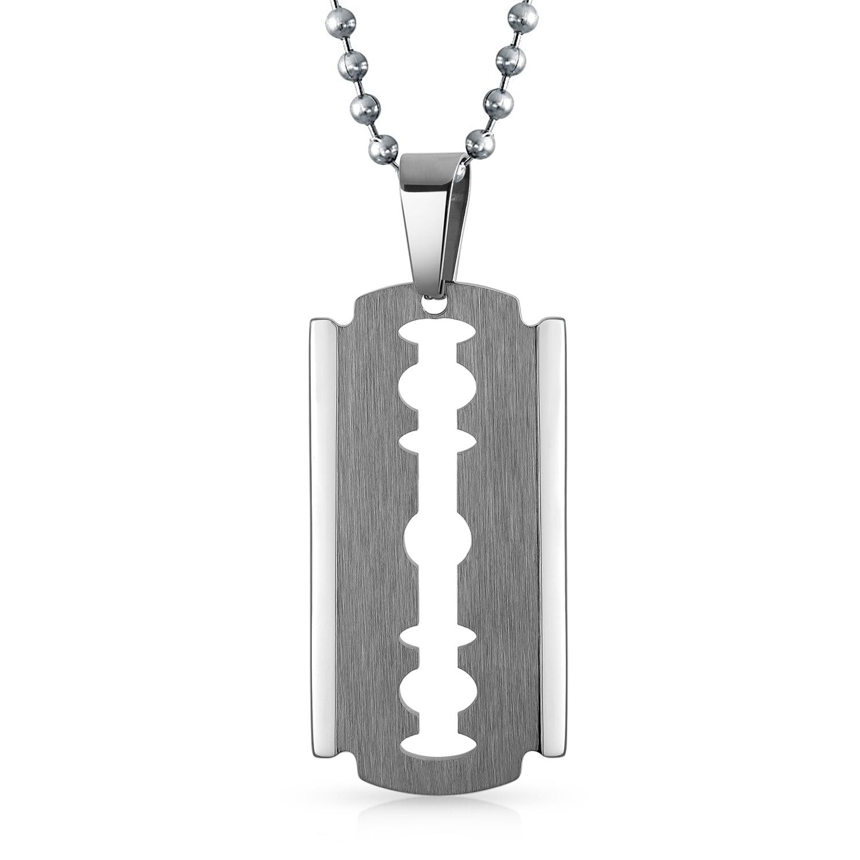 Unisex Hip Hop Punk Razor Blade Shaped Pendant Dogtag Necklace Stainless Steel
