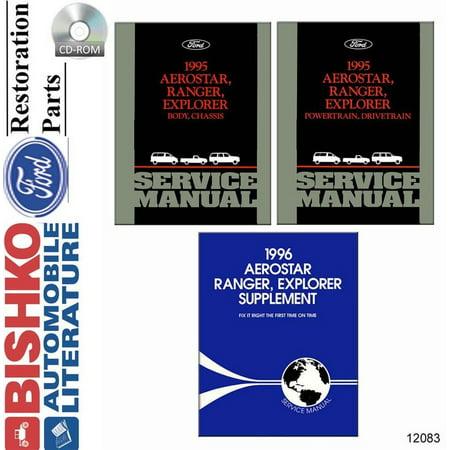 Bishko OEM Digital Repair Maintenance Shop Manual CD for Ford Truck Aerostar, Explorer, Ranger w/ 1996 Supplement 1995 ()