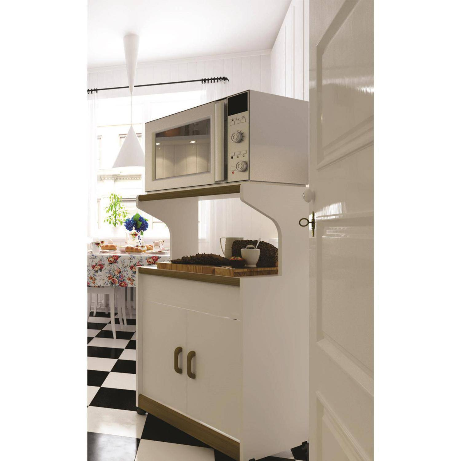 Microwave Cabinet With Shelves, White