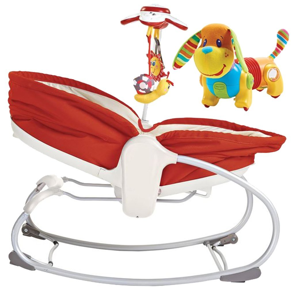 Tiny Love 3 in 1 Rocker Napper with Follow Me Activity Toy, Red