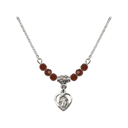 18-Inch Rhodium Plated Necklace with 4mm Red January Birth Month Stone Beads and Guardian Angel Charm (Guardian Angel Charms For Men)