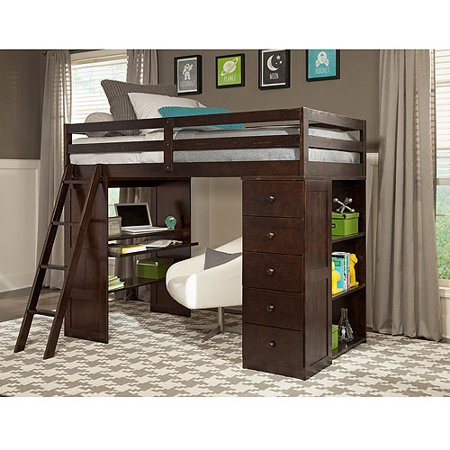 Canwood Skyway Twin Loft Bed Desk Storage Tower Espresso