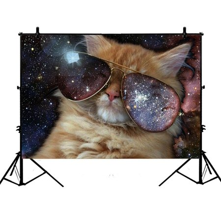 GCKG 7x5ft Funny design Star Galaxy Outer Space Cool Sunglass Cat Polyester Photography Backdrop Studio Photo Props (Sunglass Photo)