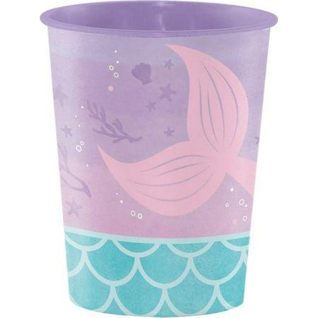 Creative Converting Mermaid Shine Plastic Keepsake Cup 16 Oz. (Keepsake Mug)