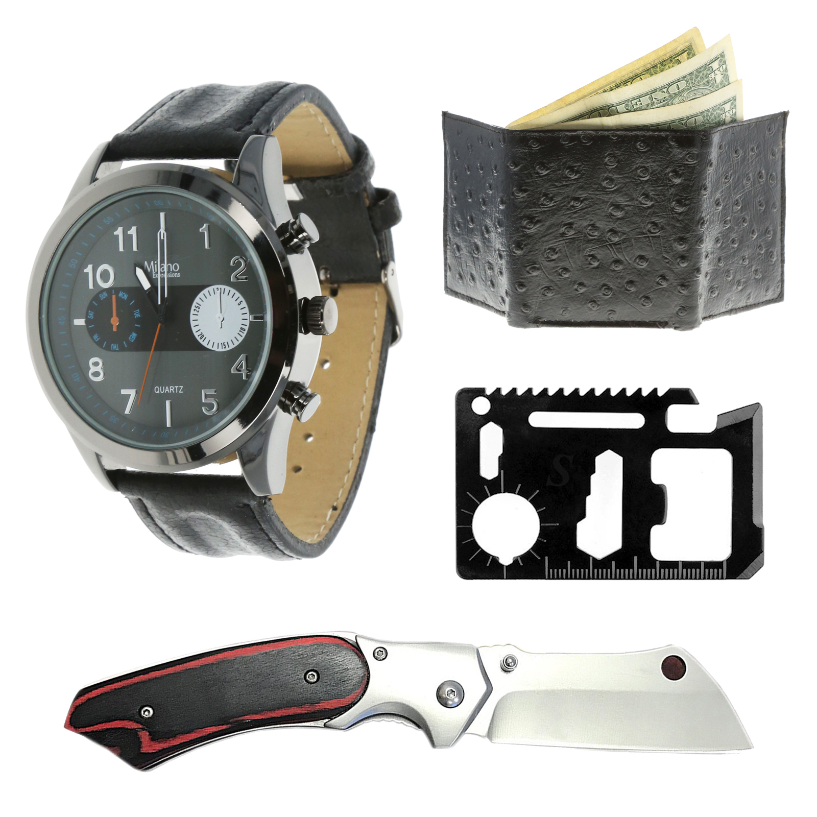 Gentlemans S Series Knife Gift Set With Watch Wallet and Multi Tool by ASR Tactical