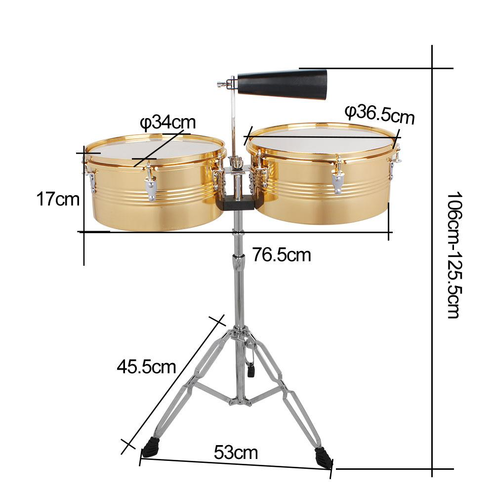 """Ktaxon Professional Timbales 13"""" & 14"""" Drum Set Latin Percussion with Stand Golden"""
